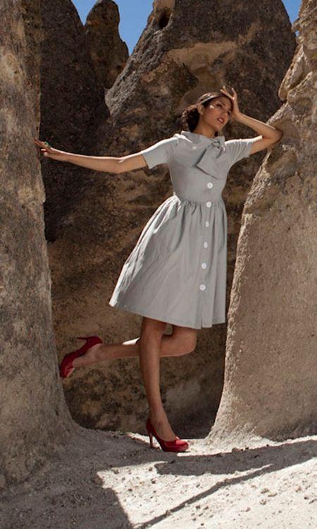 Wool Dress with Dirndle Skirt and Mandarin Collar
