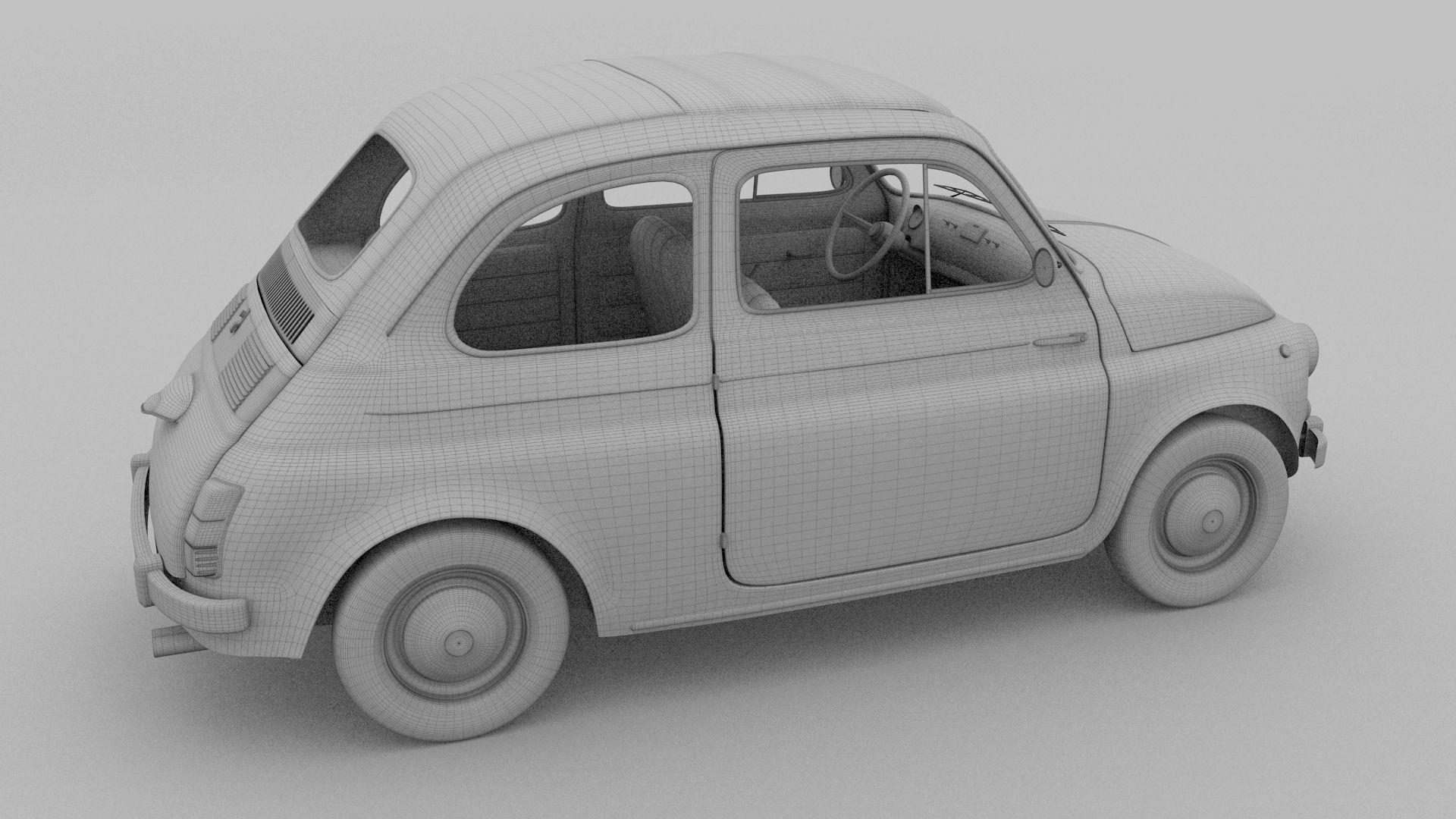 Fiat 500 Nuova 1957 With Interior Hdri Fiat 500 Fiat 3d Model