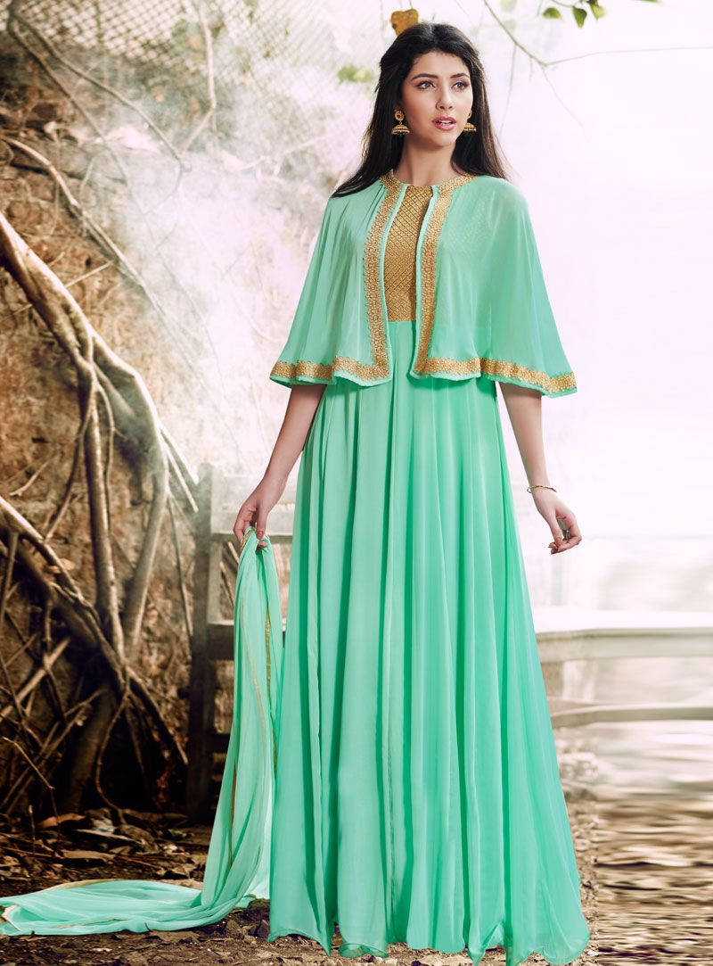 47a9333a72 Sea Green Georgette Floor Length Anarkali Suit With Cape 88929 ...