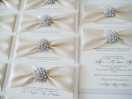 Bling Wedding Theme Diamante And Ivory Postcard Style Invitations