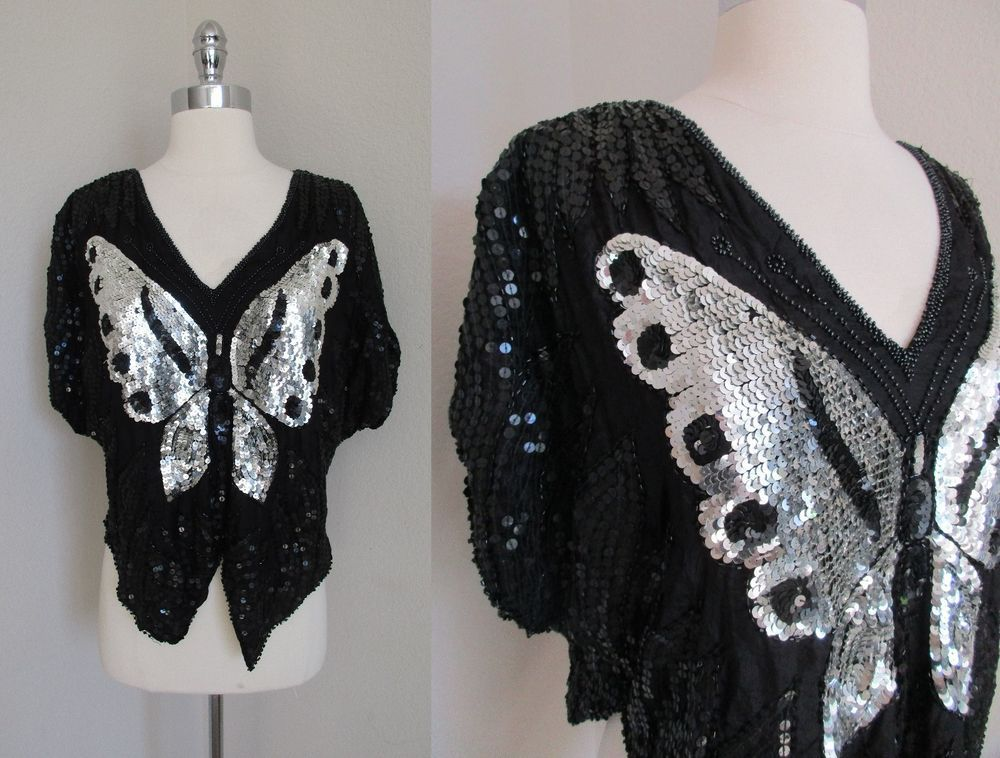 248d370622313 Vintage Tops   Blouses for Women. 70s Disco Sequins Butterfly Shirt
