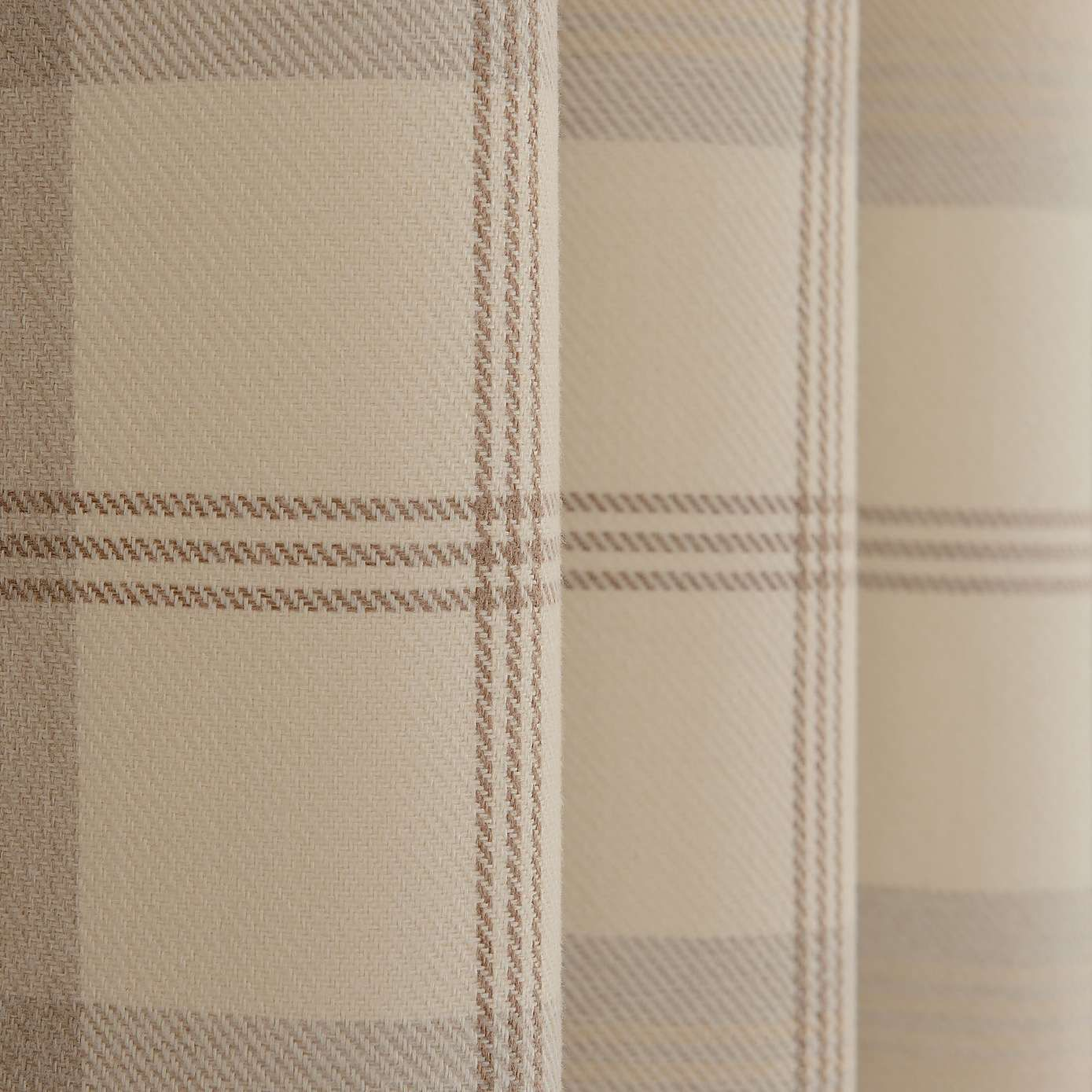 Highland Natural Check Lined Eyelet Curtains