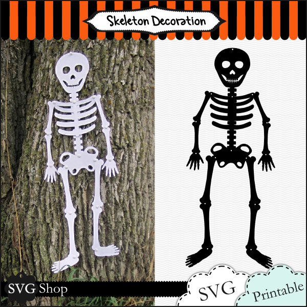 Make your own near to life size Halloween skeleton this year! This cute skeleton may frighten some but he's sure to bring some oohs and ahhs when you tell people you made him yourself. Both SVG templates and printable templates are included. (PDFs are in black only)    Makes up to a 5 ft. tall decoration! Compatible with all mat sizes, even 6x12! (6x12 and 12x12 make a 2.5' tall decoration.)