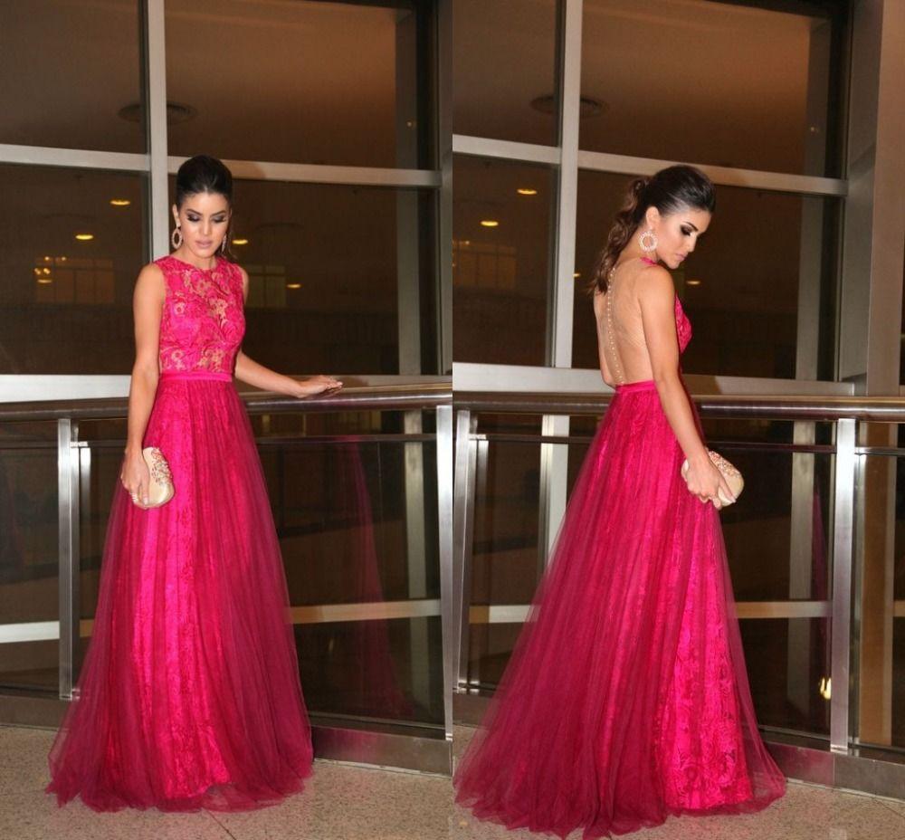 Click to buy ucuc rose red vestido longo de festa tulle long evening