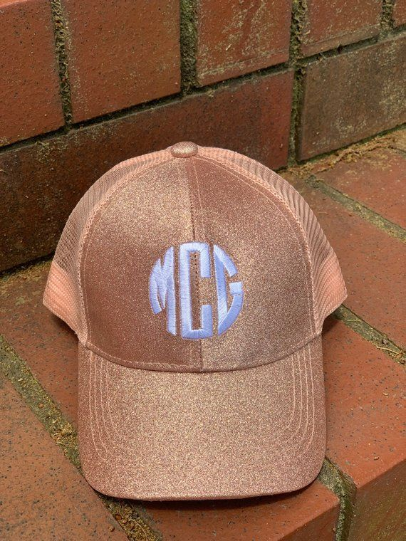 NEW Kids Rose Gold Monogram Glitter CC Messy bun/ High Ponytail Ball Cap~Youth Hat~Personalized Hat #kidsmessyhats