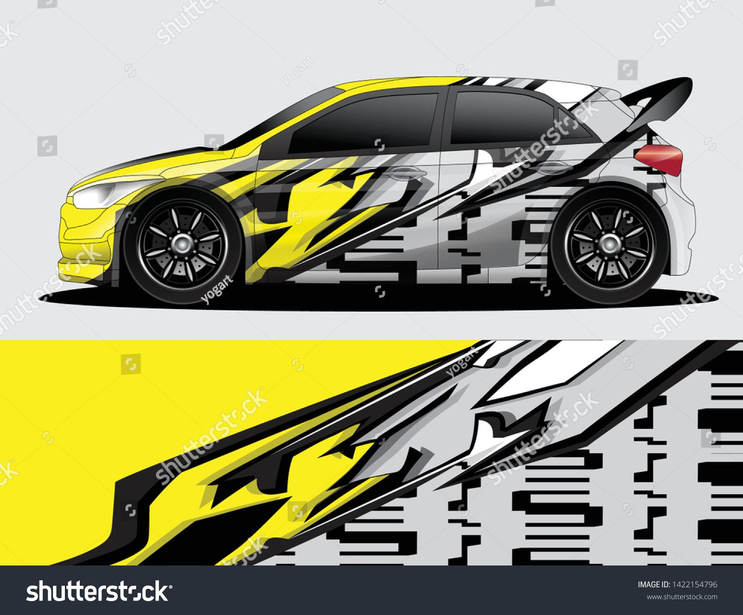 Rally Car Decal Graphic Wrap Vector Abstract Background Mobil Balap Mobil Gambar