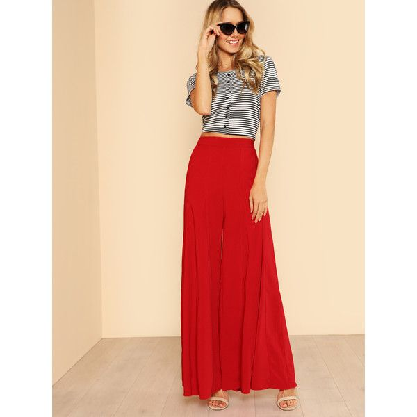 Wide Leg Pleated Palazzo Pants RED (37 BAM) ❤ liked on Polyvore featuring pants