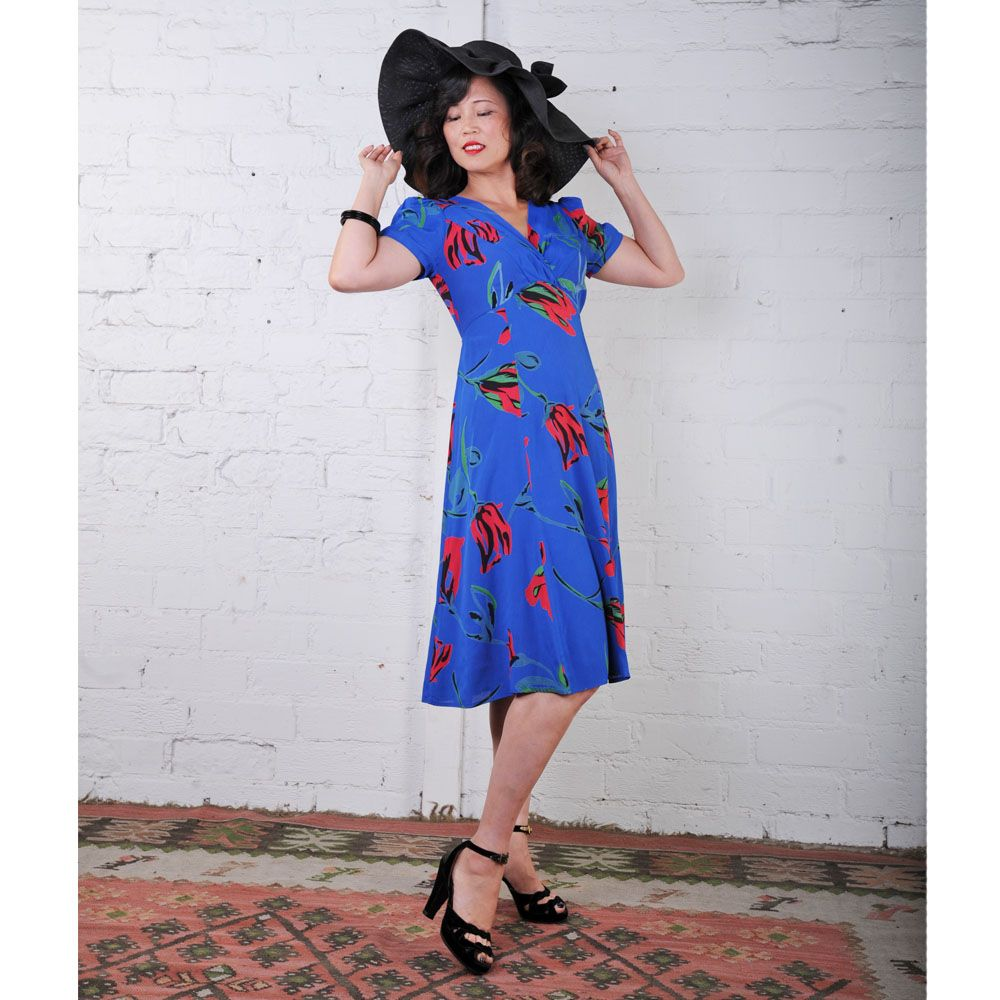 Cobalt Blue & Red Floral Retro Knee Length Rita Dress - French Rayon Crepe