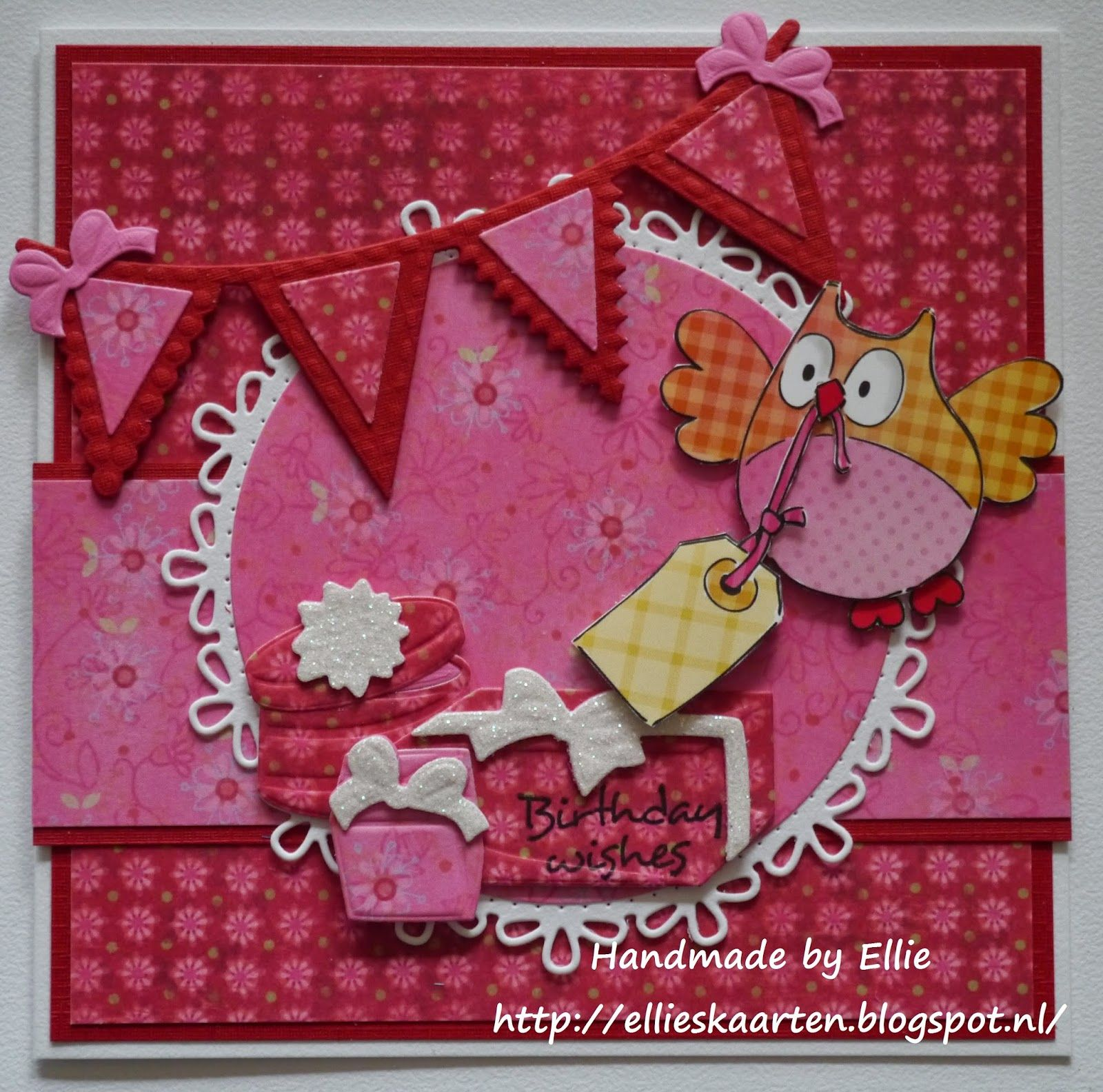 """Ellie's Kaarten: Challenge # 114 """"Uiltjes"""" met Craftables Circle & flower - stitch (CR1248 and Creatables Presents (LR0328) and Flags (LR0329) by Marianne Design"""