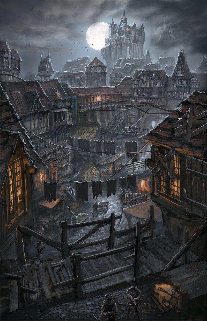 Night Over The Poor District By Ortsmor On Deviantart Fantasy City Fantasy Landscape Fantasy Artwork