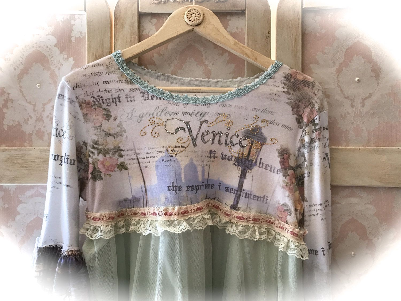 Romantic venetian collage tunic top juliette style tatter fairy