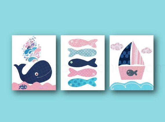 Bleu marine et rose nautique pépinière art par GalerieAnais sur ...