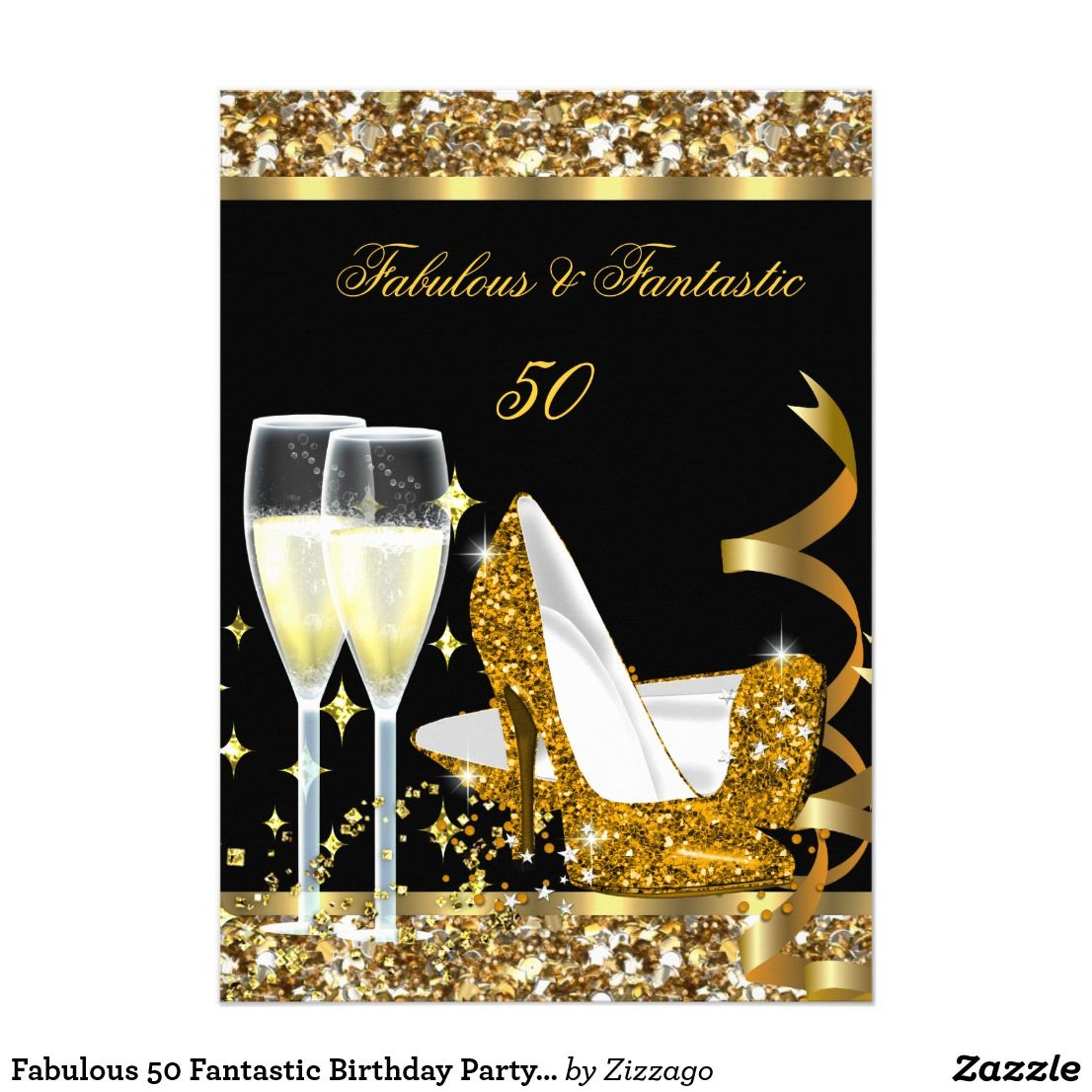 Fabulous 50 Fantastic Birthday Party Gold Black Invitation
