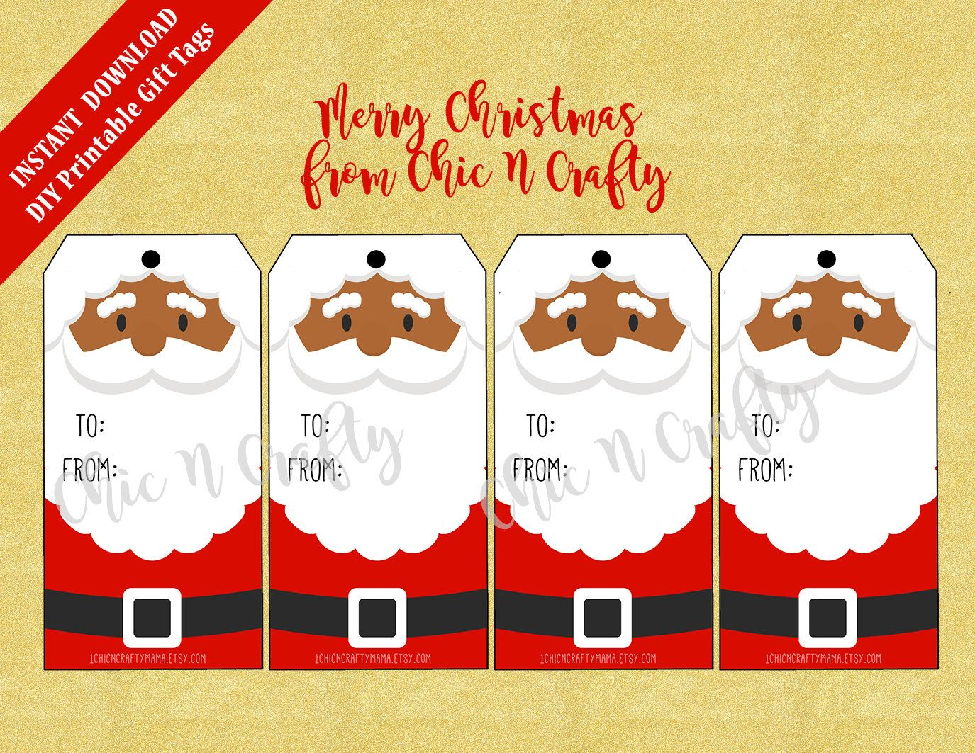 Printable Christmas Gift Tags Large Christmas Tags African American Santachristmas Hang Tags Holiday Gift Tags Instant Download By Chicncraftymama
