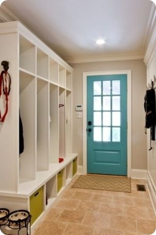 Mudroom open lockers, like the blue-painted door