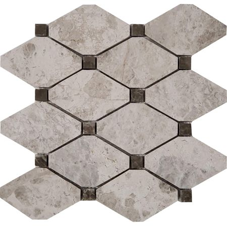 Best Long Octagon Tile Mosaic Tundra Grey With Dusky Emperador 640 x 480