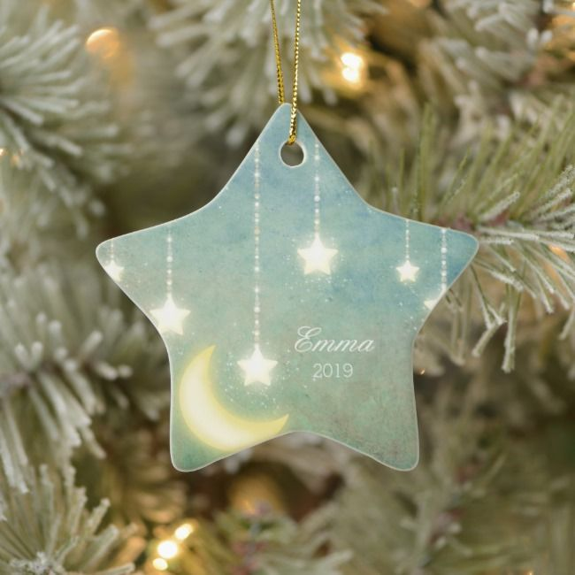 Baby S First Christmas Moon Stars Picture Ornament Zazzle Com In 2021 Clay Christmas Decorations Picture Ornaments Ceramic Christmas Decorations