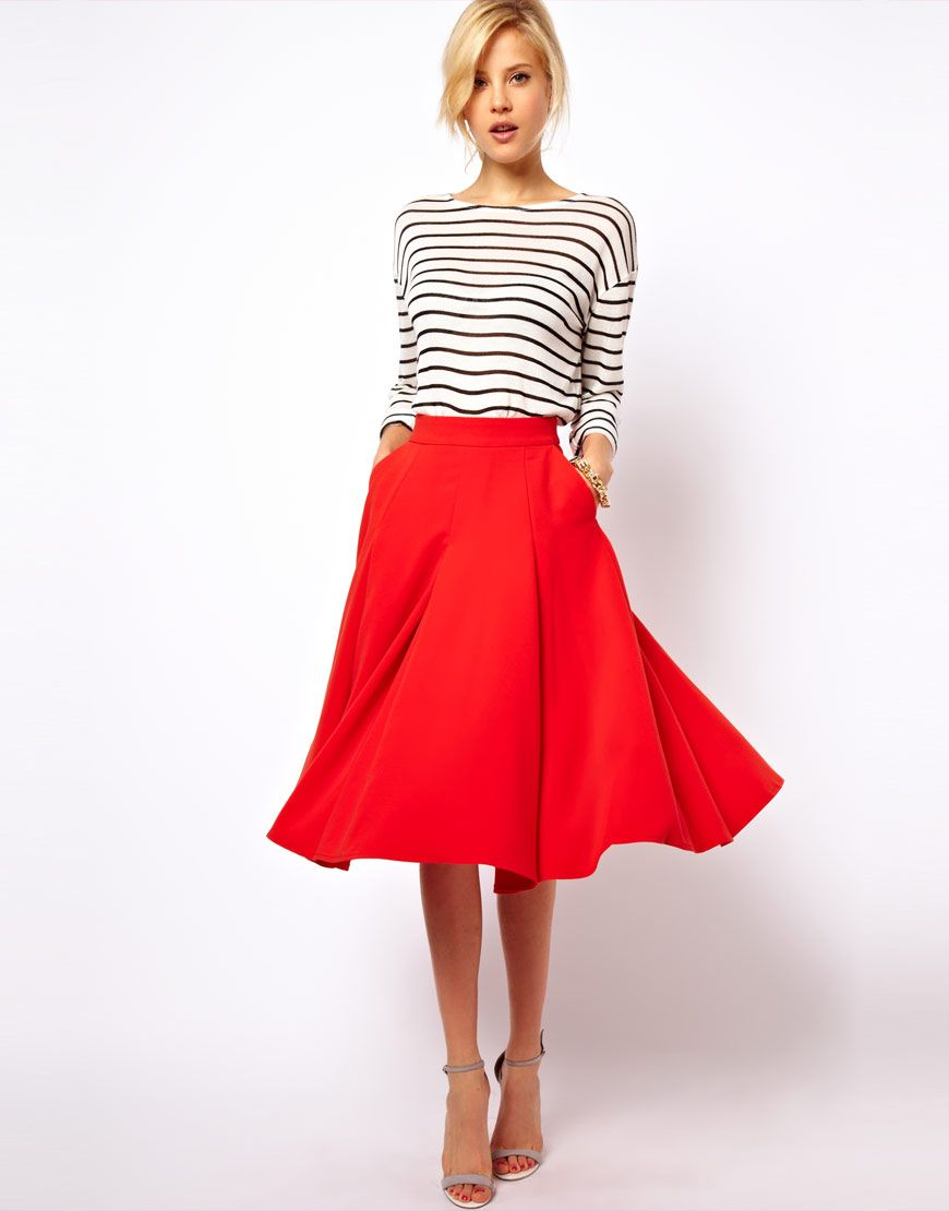 Red Midi Inspiration. Check out ObsessedToDress.com for Midi Skirts.
