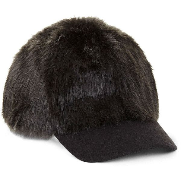 BCBG Faux-Fur Baseball Cap ( 48) ❤ liked on Polyvore featuring accessories be1f1ed20f89