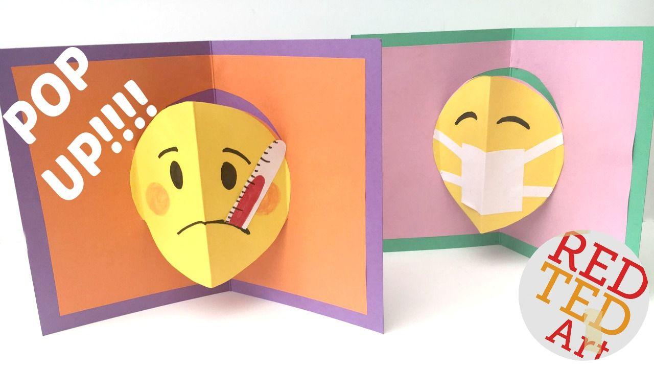 Easy Emoji Pop Up Card Diy Red Ted Art Make Crafting With Kids Easy Fun Emoji Diy Pop Up Cards Diy Cards