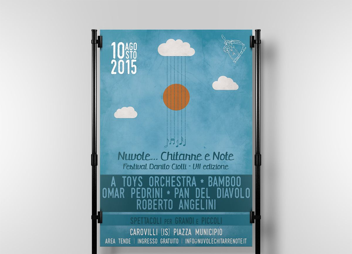 Nuvole Chitarre e Note 2015 by Simona Catalfo, via Behance #poster #music #guitar #festival #clouds #sky