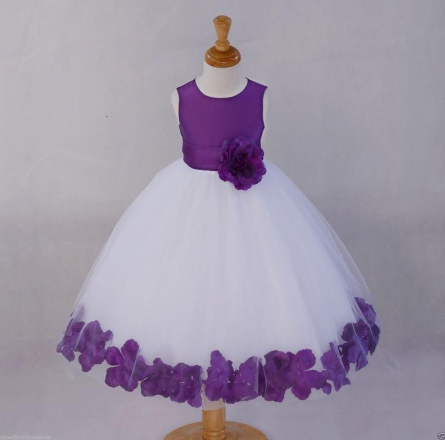 White Purple Flower Dress Pageant Wedding By Ekidsbridalusa