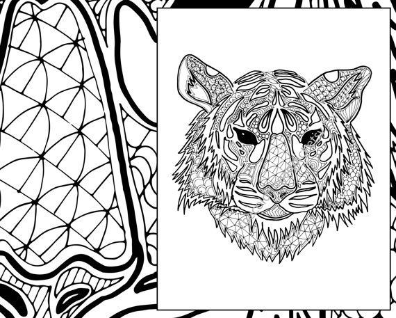 Digital Tiger Coloring Sheet Animal Pdf Zentangle Colouring Page
