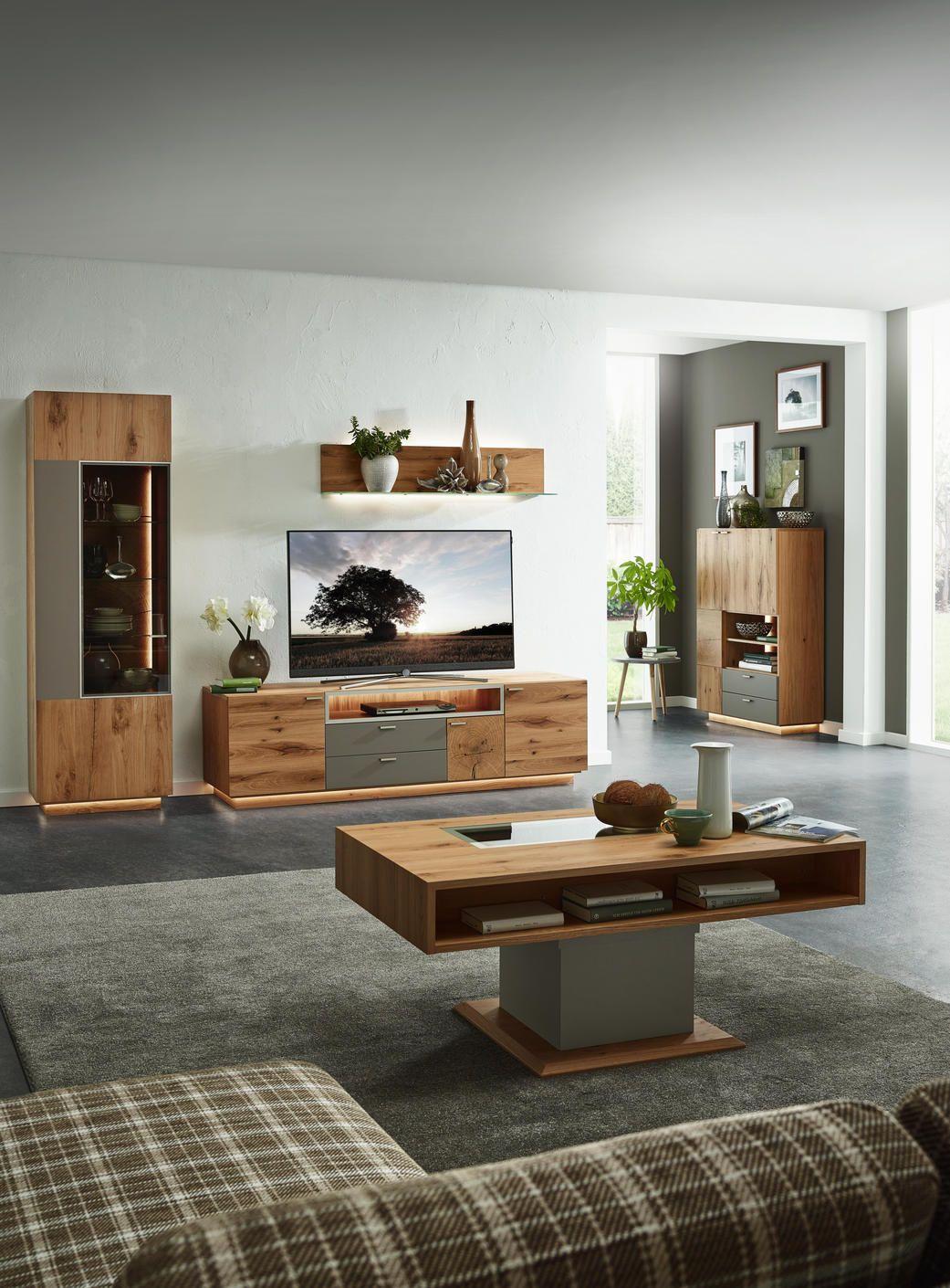 Wohnwand Eichefarben Walnussfarben Holz Wohnen Wohnzimmer Tv
