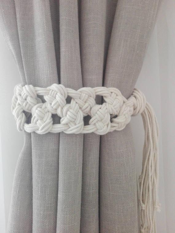 Macrame Curtain Tie Backs 2 Pcs Cotton Rope Curtain Tie Etsy Rope Curtain Tie Back Macrame Curtain Curtain Tie Backs