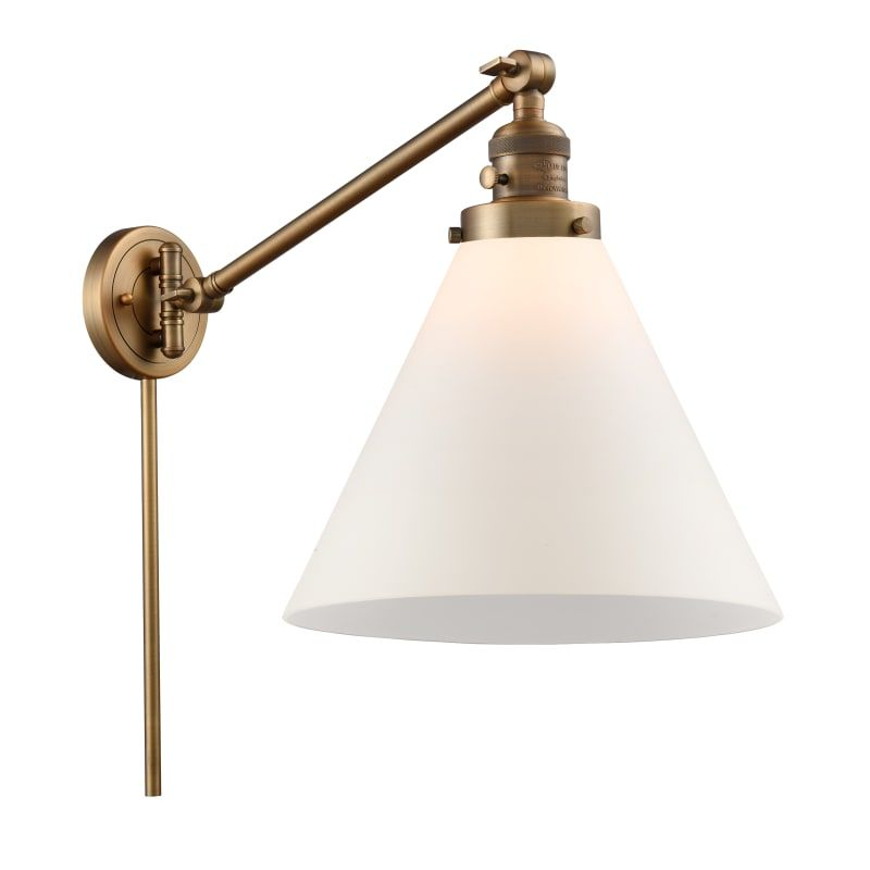 Photo of Innovations Lighting 237 X-Large Cone X-Large Cone Single Light 16″ Tall Bathroo Brushed Brass / Matte White Cased Indoor Lighting Bathroom Fixtures