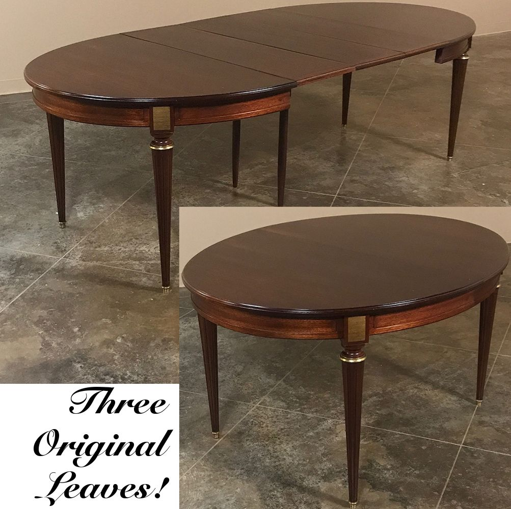 Antique French Louis Xvi Mahogany Oval Dining Table With 3 Leaves