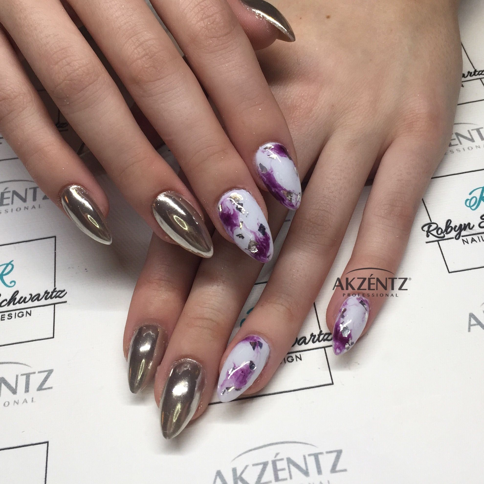 Marble and chrome, almond gel nails | More nails! | Pinterest ...