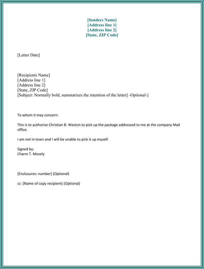 Authorization Letter Best Business Template Format Procedure