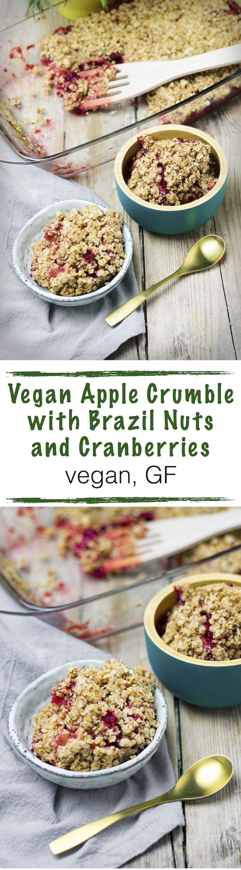 My Vegan Apple Crumble with Brazil Nuts and Cranberries is a flavorful and healthy recipe for breakfast – but also an awesome option for a dessert or even a snack during the day. There are so many vital nutrients in this stunner than you will feel a real power boost with this easy #vegan Apple Crumble right away.