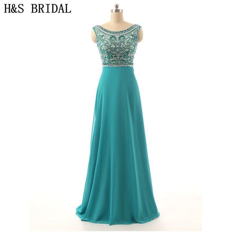 Free Shipping  Buy Best H S BRIDAL Green evening dress 2017 Chiffon ... 976de23d63c9