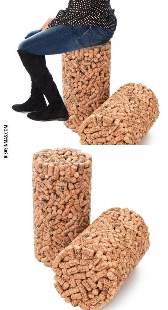 Taburete de corchos alfombra ba o corcho pinterest corchos botellas de vino y reciclaje - Alfombra de corchos ...