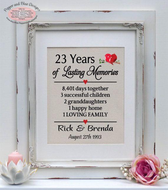 23rd Wedding Anniversary 23 Years Married By Pepperandbluedesigns