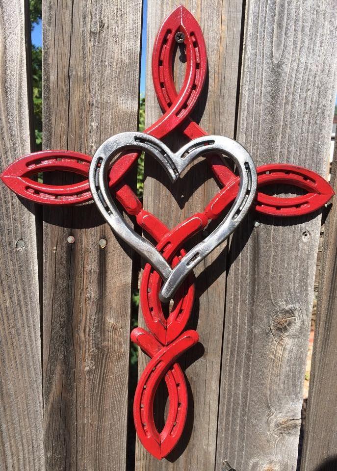 Horseshoe cross with heart Horseshoe, Horseshoe projects