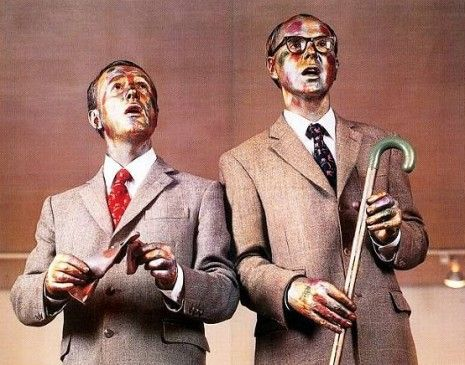 Gilbert And George As Living Singing Sculptures Perform The 1930 S Music Hall Song Underneath The Arches