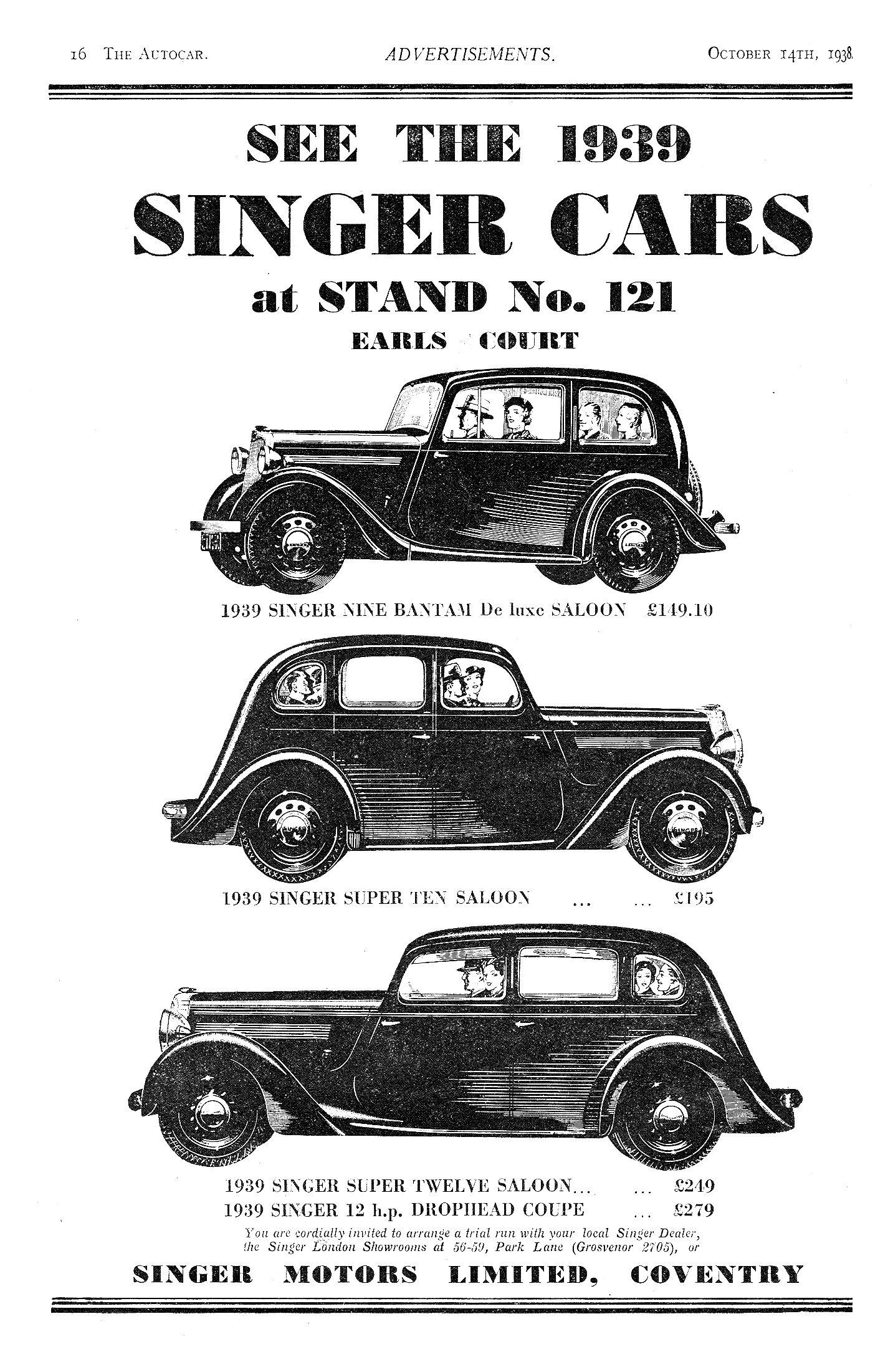 Singer Nine 9 Bantam Super Ten 10 Amp Super Twelve 12 Motor Car Autocar Advert