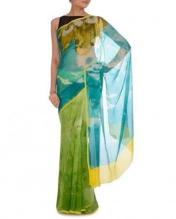 Parrot Green and Teal Green Printed Sari by Satya Paul Shop Now: http://goo.gl/0dd5L6 #Multicolor #Sari #Silk #Luxury #Fashion #DesignerWear #Saree #India #Ethnic #Desi #Multicolour #ExclusivelyIn #Indian #Print #Floral #Elegant #Neon #Gorgeous #EOSS #Designer