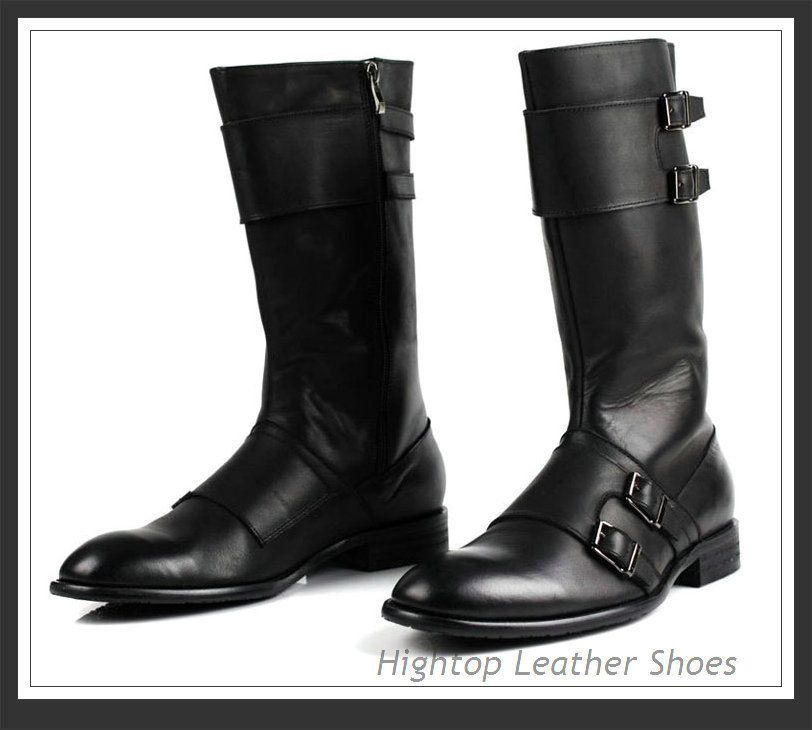 2014 hightop new arrival men's knee high boots cowhide leather men ...