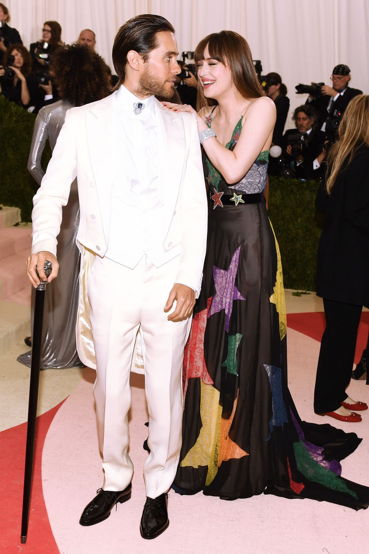 266f4f3c24b Dakota Johnson wearing Gucci at the Met Gala in NY with Jared Leto - 3 May  2016