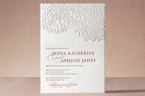 61ca6d9944a7e3937c445984d231e977 white lace letterpress wedding invitations by lauren chism at,Wedding Letterpress Invitations
