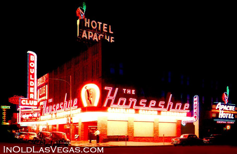 The 1951 Horseshoe Casino And The Apache Hotel In Old Downtown Las