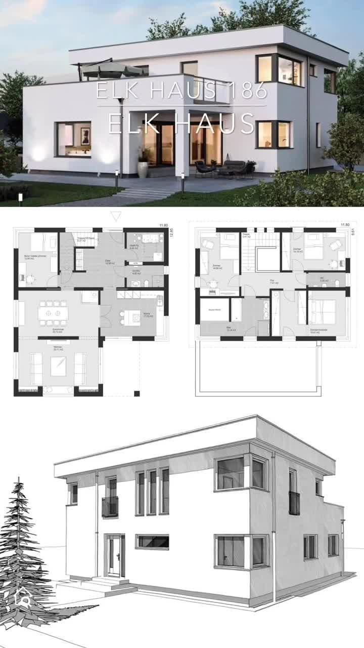 Modernes Einfamilienhaus mit Flachdach Architektur im Bauhausstil bauen Haus Grundriss 180 qm groß