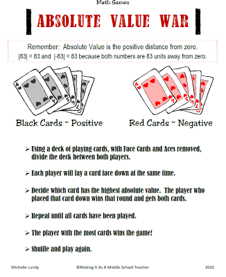 Classroom Freebies Too: A Fun Game for Absolute Value!