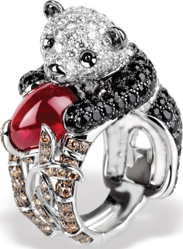 Boucheron's Biladom panda ring with black sapphires, white and brown diamonds and a cabochon ruby.