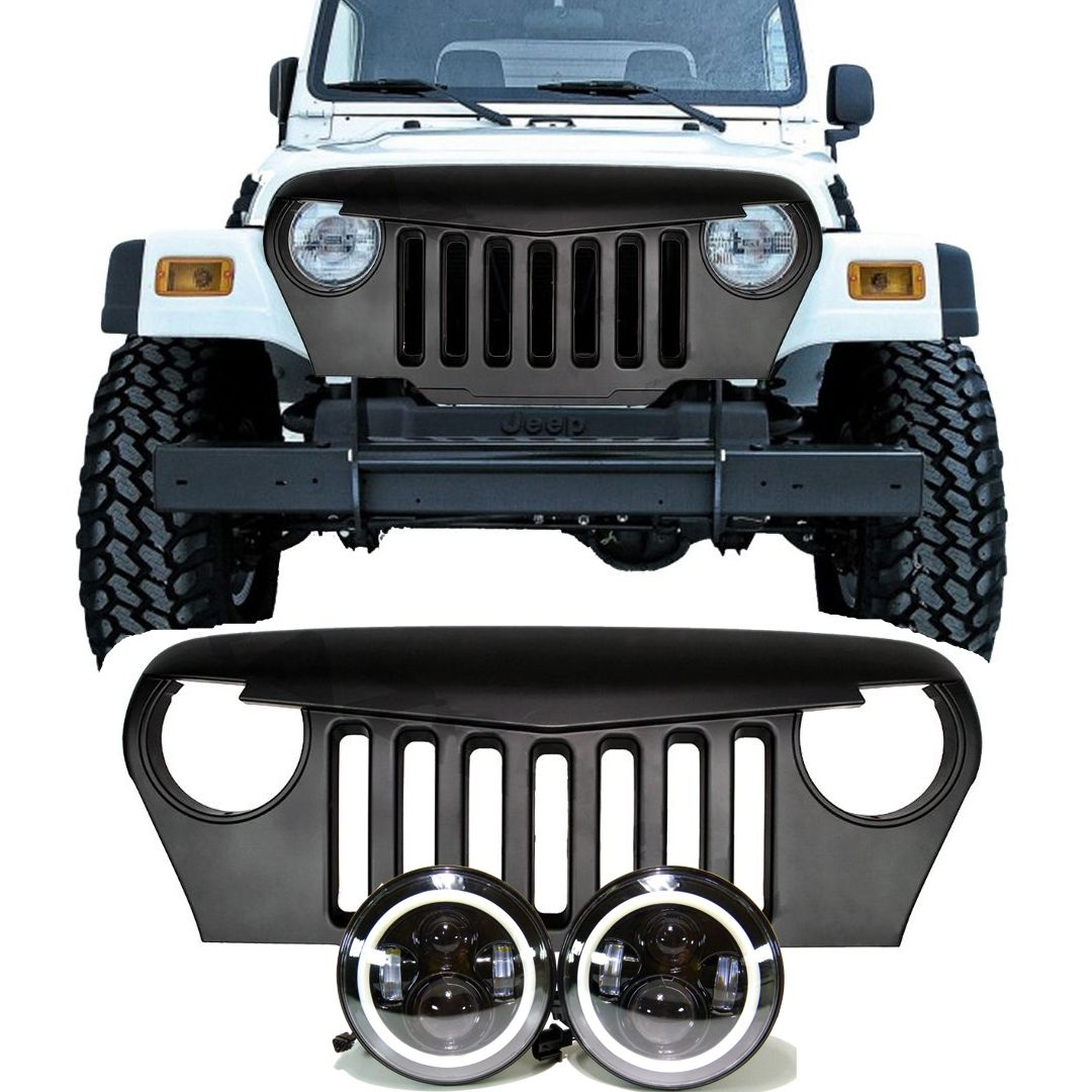 61ca9ec8cf283d89a77ac9ca2281b66d jeep tj led projector headlights halo & grille combo pack  at edmiracle.co
