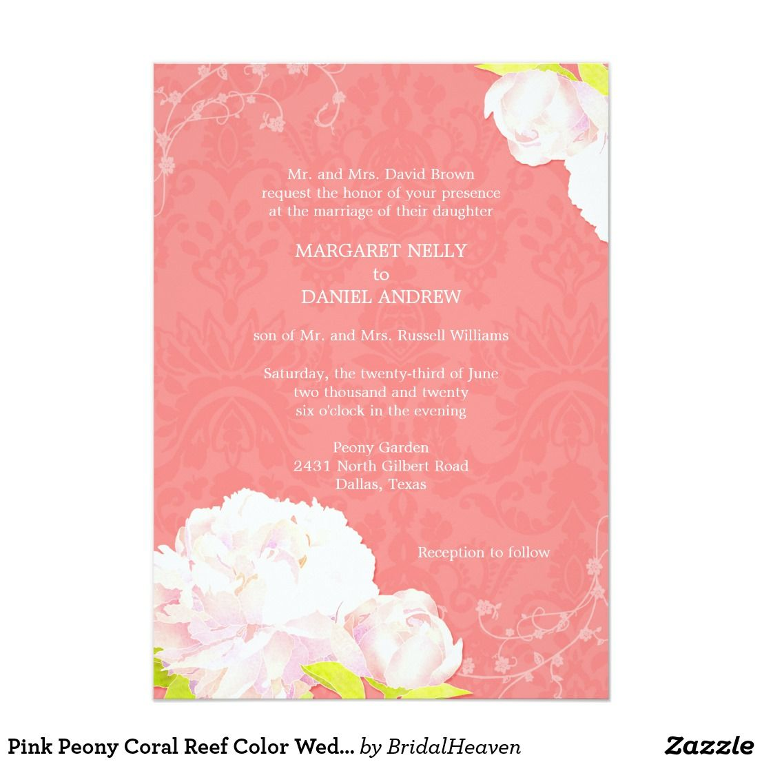 Pink Peony Coral Reef Color Wedding Invitation | Pink Peony Coral ...